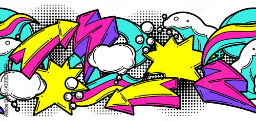 Seamless pattern with cartoon decorative elements. Urban colorful teenage creative background.