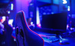 canvas print picture - Professional place streamer video gamers room with computer. Cyber sport championship neon color lights