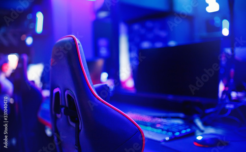 Obraz Professional place streamer video gamers room with computer. Cyber sport championship neon color lights - fototapety do salonu