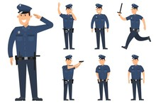 Set Of Policeman In Different ...
