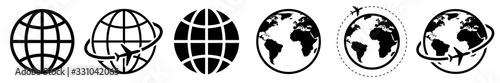 Fototapeta Earth icons set. Globe sign. Vector obraz