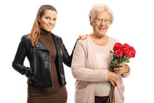 Elderly Woman Holding A Bunch ...