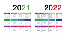 Year 2021 And Year 2022 Calendar Horizontal Vector Design Template, Simple And Clean Design. Calendar For 2021 And 2022 On White Background For Organization And Business. Week Starts Monday.