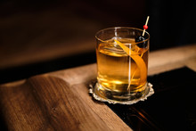 Perfect Old Fashioned Cocktail With Cherry And Orange Zest