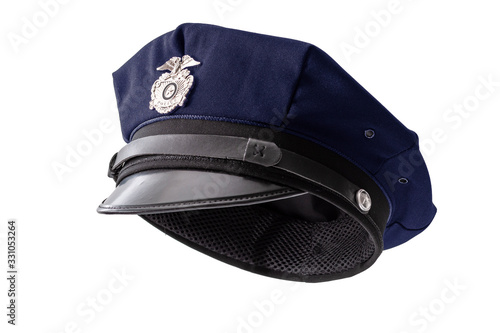 Protect and serve, law enforcement and american cop concept police officer hat i Fotobehang