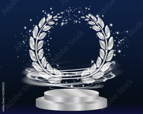 Vector silver laurel wreath frame award and stage podium isolated on dark background Canvas Print