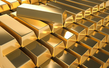 A Pile Of Gold On A White Background