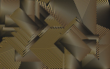 Abstract Gold Pattern, Metallic Effect Halftone Lines Dynamic Background, Modern Design Texture.