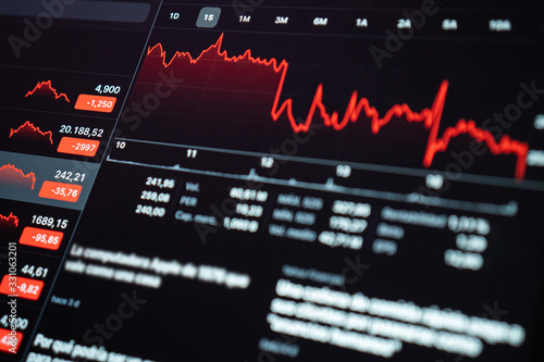 Cuadros en Lienzo Tablet showing the crisis in the financial markets as a result of the coronavirus pandemic