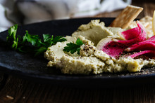 Green Hummus With Pickled Wate...