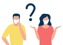 Abstract Man And Woman In Respiratory Masks With Question Mark. Protection Against Disease. Prevention Of Disease. Vector Illustration