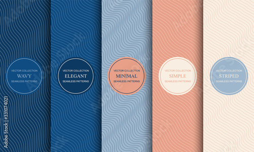 Fototapeta Set of elegant colorful seamless curve outline patterns. Striped endless wave texture. Vector repeatable minimalistic backgrounds with creative wavy lines obraz