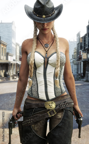 Blonde cowgirl walking the streets of a western town armed with two revolvers. 3d rendering Wall mural