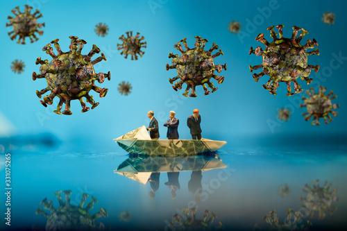 Vászonkép Businessman Economy Coronavirus Infection