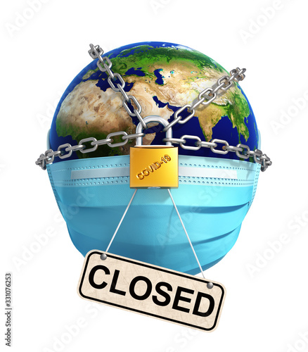 Locked Planet Earth With Sign Closed On White Background - 331076253