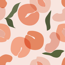 Seamless Pattern With Plum. Vector Hand Draw