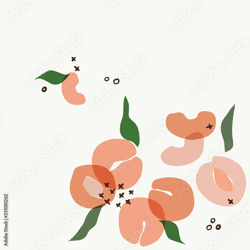 Photo Modern abstract peach apricot art vector leaves background