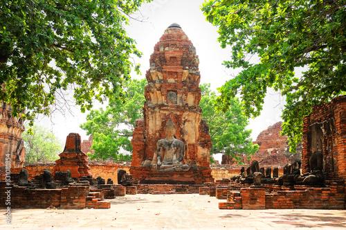 Buddha statue in Wat Mahathat temple, Ayutthaya, Thailand. Wallpaper Mural