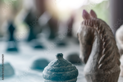 Fotografía Boackground of wooden Thai chess game hourse, king, queen, pawn on game board for strategy concept