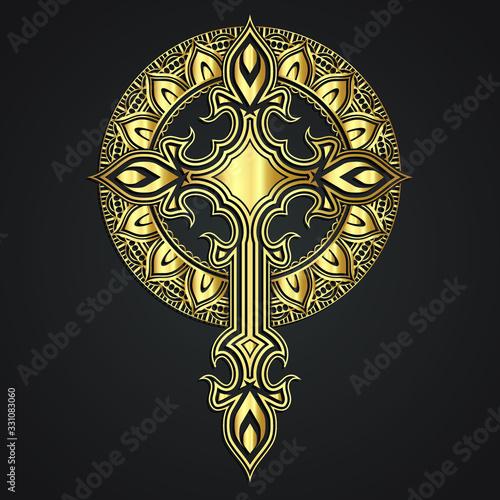 Obraz na plátně golden degolden decorative modern cross on ornamental circle background