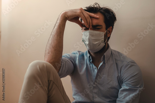 Mental issues during the new coronavirus home quarantine Fotobehang