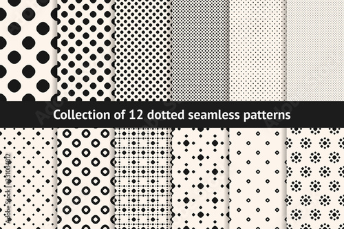 Polka dot patterns collection. Vector geometric seamless textures with circles, dots, spots. Set of black and white minimal abstract dotted background swatches. Simple monochrome repeatable designs