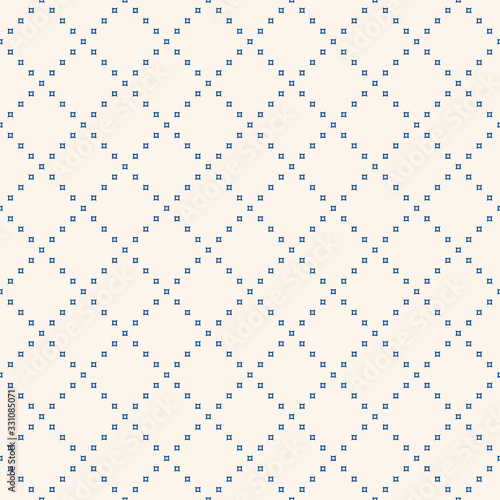 Subtle minimalist geometric seamless pattern with tiny squares in grid. Abstract minimal background in blue and white color. Delicate modern texture. Repeat design for decor, wallpaper, print, website
