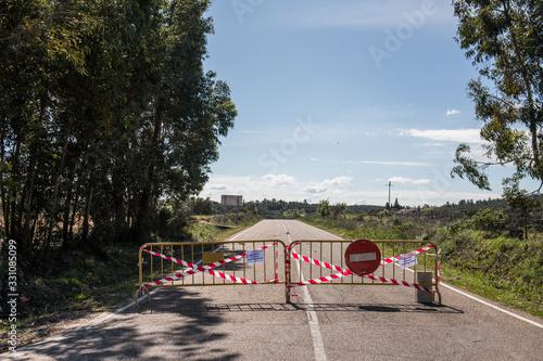 Road cut in La Codosera, Badajoz, Spain becuase of the COVID-19