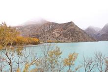 Mountains Blue Lake Yellow Trees Fog Autumn