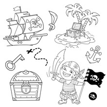 Cartoon Set For Pirate Party For Kids. Pirate Ship With Skull In Sea. Pirate With Black Flag.Treasure Chest. Closed Coffer With Lock. Golden Key. Island Of Treasure. Coloring Book For Kids.