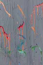 Colorful Graffiti Paint Splattered And Dripping On Urban Wall, Close Up,Paint