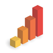 Bar Chart Of 4 Growing Columns. 3D Isometric Colorful Vector Graph. Economical Growth, Increase Or Success Theme
