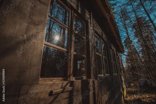 Window detail of cottages hiding in the depths of forest at Kocevje or Kocevski rog Canvas Print