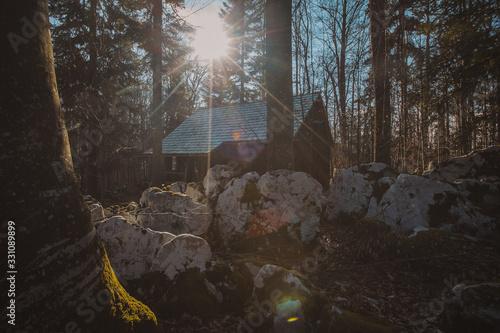 Photo Old army barracks or cottages hiding in the depths of forest at Kocevje or Kocevski rog