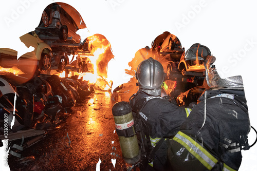 Sapeurs pompiers en action Wallpaper Mural