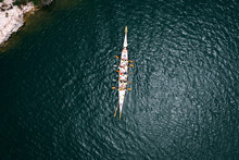 Sport Dragon Boat Of 10 Paddlers, Top View