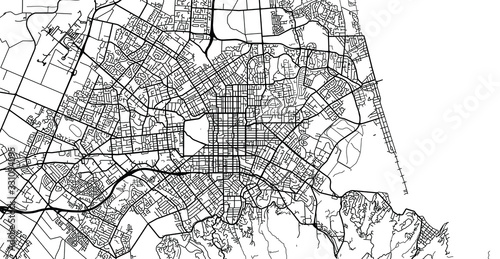 Fototapeta Urban vector city map of Christchurch, New Zealand