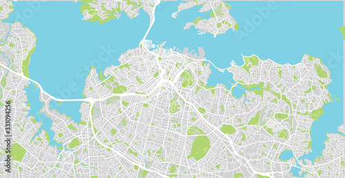 Fotomural Urban vector city map of Auckland, New Zealand