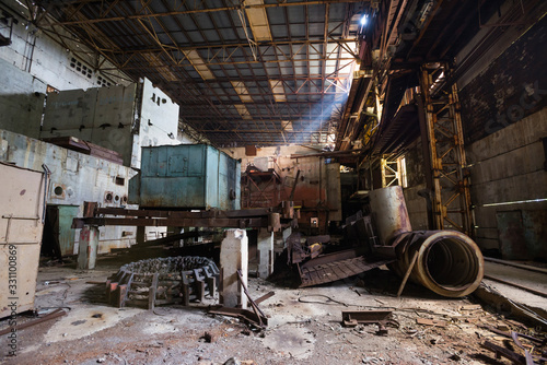 Photo Inside unfinished engine room of Chernobyl nuclear power plant