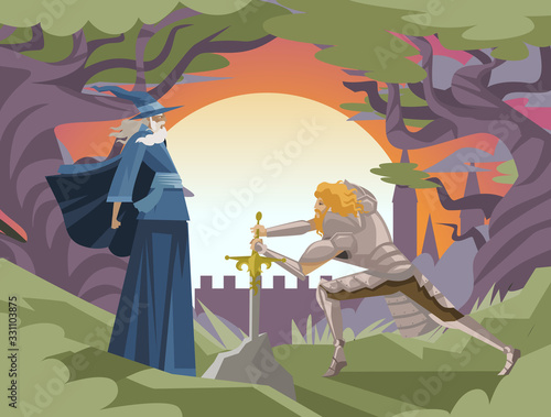 king arthur with excalibur in the rock and merlin wizard tale Wallpaper Mural