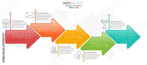 Fototapeta Infographic template design with 5 color options. obraz