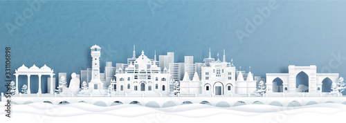 Fotografija Panorama view of Ahmedabad skyline with India famous landmarks in paper cut style vector illustration