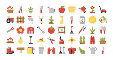 Set Of Icon Gardening On White...
