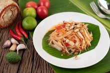Thai Papaya Salad In A White P...