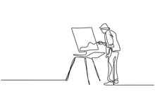 One Line Drawing Of Painter Ar...