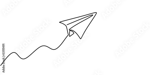 Obraz Paper plane drawing vector, continuous single one line art style isolated on white background. Minimalism hand drawn style. - fototapety do salonu