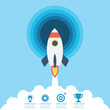 Rocket flying with icons of strategy, marketing, money and investment. Concept of business successful, growth strategy and investment in startup