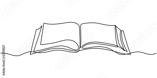 One line drawing, open book. Vector object illustration, minimalism hand drawn sketch design. Concept of study and knowledge.
