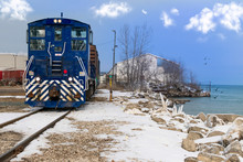 Freight Train In Winter