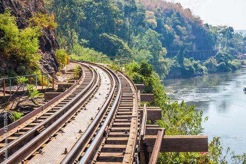 The Death Railway crossing kwai river with Krasae Cave in Kanchanaburi Thailand Canvas-taulu